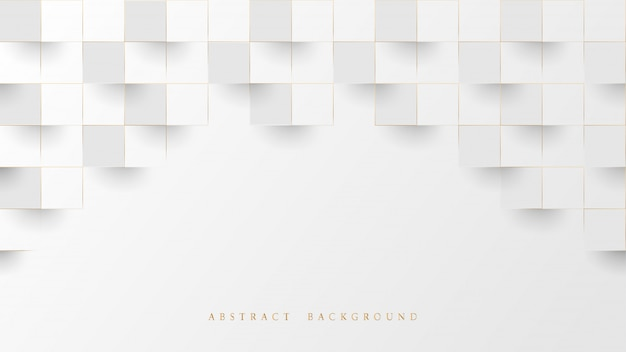 Abstract white and lines gold 3d geometric pattern background. luxury stacked box.