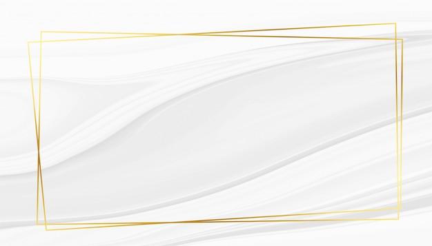 ゴールデンフレームと抽象的な白い大理石のテクスチャ