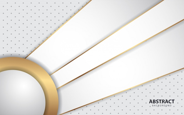 Abstract white overlap layers background with golden decoration