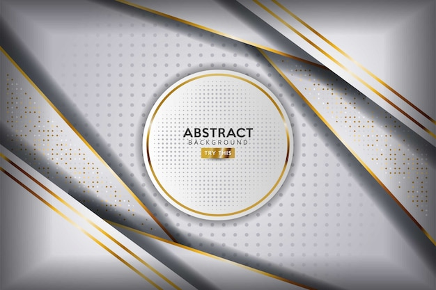 Abstract white overlap layers golden line with circle and golden glitters dots luxury background