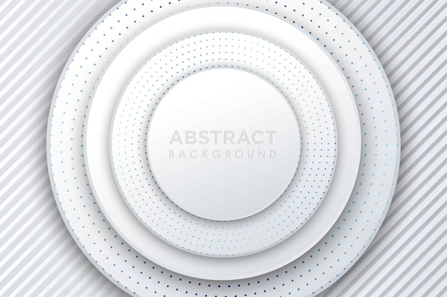 Abstract white paper cut background. abstract realistic layered papercut decoration textured with engraved halftone pattern. 3d backdrop with circle shape layers.