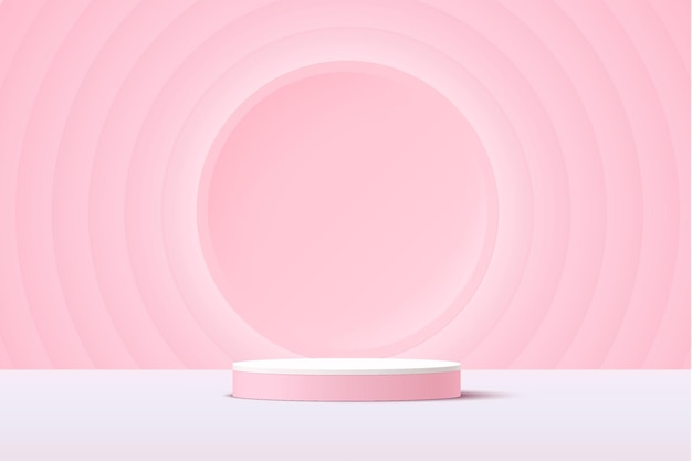 Abstract white and pink 3d cylinder pedestal podium with glowing light pink circle backdrop