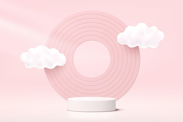 Abstract white and pink realistic 3d cylinder pedestal podium with cloud flying and circle backdrop