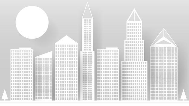 Абстрактные белые небоскребы из бумаги. современный город на фоне линии горизонта, здание, промышленная бумага, пейзаж, небоскреб, офисы. векторная иллюстрация