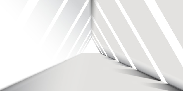 Abstract white  triangle corridor background