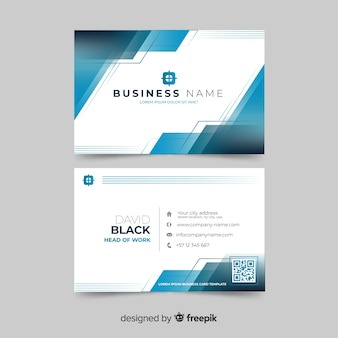 Abstract white visiting card with blue shapes template