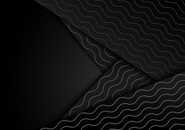 Abstract white wave lines pattern on black stripes overlapping layer on dark background. vector illustration