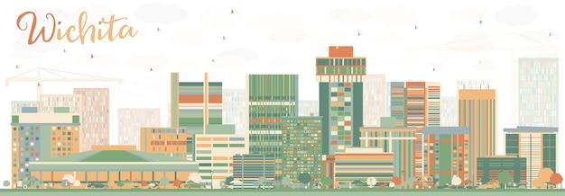 色の建物と抽象的なウィチタのスカイライン。