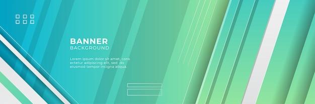 幾何学的な形、ストライプ、波、および技術のデジタル要素と抽象的な広いバナーの背景