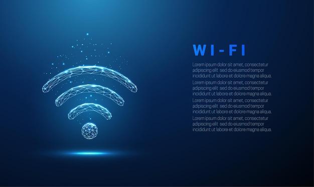 抽象的なwifiシンボルワイヤレスインターネット技術の概念低ポリスタイル