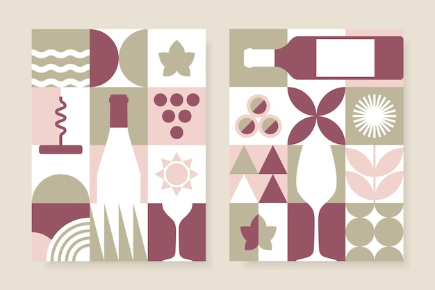 Abstract wine posters set in geometric style