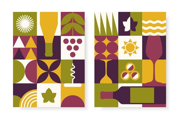 기하학적 스타일로 설정된 추상 와인 포스터