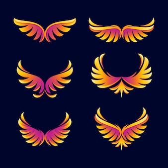 Abstract wing colorful  logo template