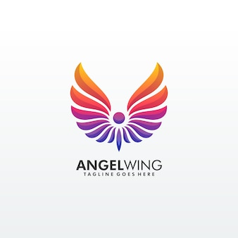 Abstract wing colorful premium logo template
