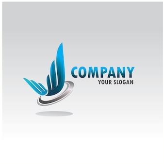 Abstract wing logo company Premium Vector