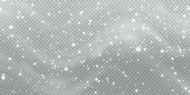 Абстрактный зимний фон из снежинок, унесенных ветром на белом прозрачном фоне