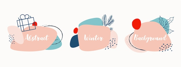 Abstract winter background set with christmas elements in trendy pink and blue pastel colors