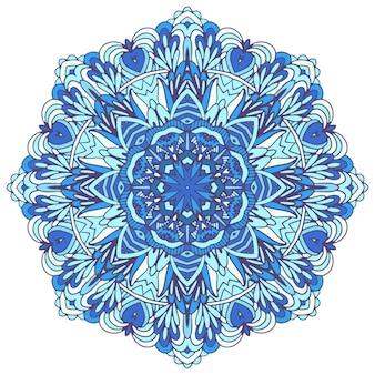 Abstract winter blue ethnic geometric mandala. cute snowflake in folk art style.