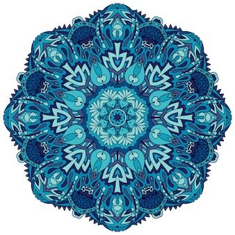 抽象的な冬の青の民族の幾何学的な曼荼羅。フォークアートスタイルのかわいいスノーフレーク。ペルシャのメダリオン