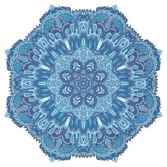 抽象的な冬の青の民族の幾何学的な曼荼羅。かわいいスノーフレークメダリオン