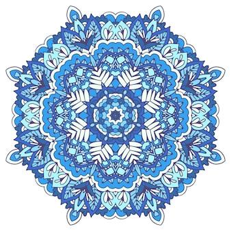 Abstract winter blue ethnic geometric mandala decoration. snowflake in folk art style
