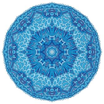 抽象的な冬の青の民族の幾何学的な曼荼羅。ラウンドスノーフレークメダリオンアラベスク