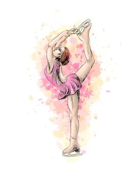 Абстрактный зимний спорт девушка по фигурному катанию от всплеска акварелей. зимний вид спорта. иллюстрация красок.