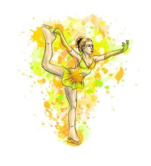 水彩画のスプラッシュから抽象的な冬のスポーツのフィギュアスケートの女の子。冬のスポーツ。塗料のイラスト。