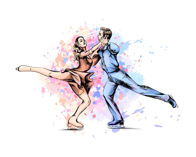 Abstract winter sport figure skating young couple skaters from splash of watercolors. winter sport.  illustration of paints.