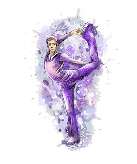 水彩画のスプラッシュから抽象的な冬のスポーツフィギュアスケートの若い男性。冬のスポーツ。塗料のイラスト。