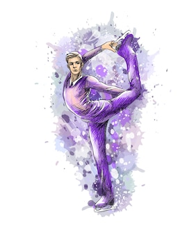 Abstract winter sport figure skating young male from splash of watercolors. winter sport.  illustration of paints.