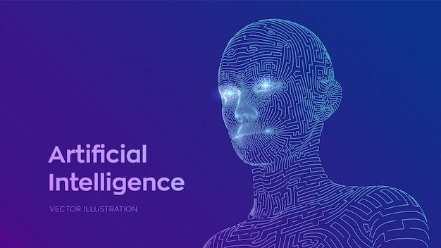 추상 와이어 프레임 디지털 인간의 얼굴입니다. 로봇 컴퓨터 해석에 인간의 머리입니다. 인공 지능 개념.