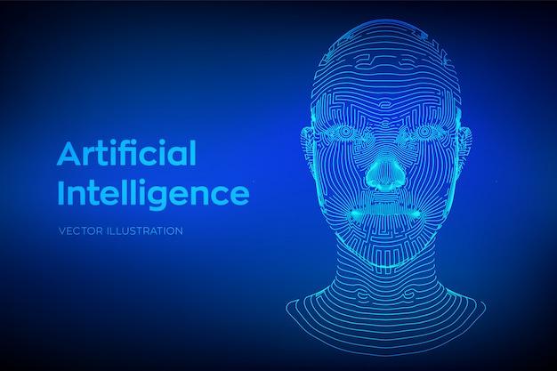추상 와이어 프레임 디지털 인간의 얼굴입니다. 로봇 디지털 컴퓨터 해석에 인간의 머리
