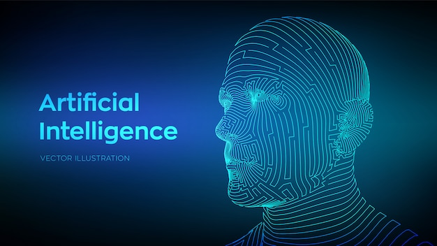 Abstract wireframe digital human face.