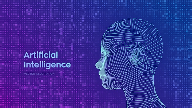 스트리밍 매트릭스 디지털 이진 코드 배경에 추상 와이어 프레임 디지털 인간의 여성 얼굴. 일체 포함. 인공 지능 개념.