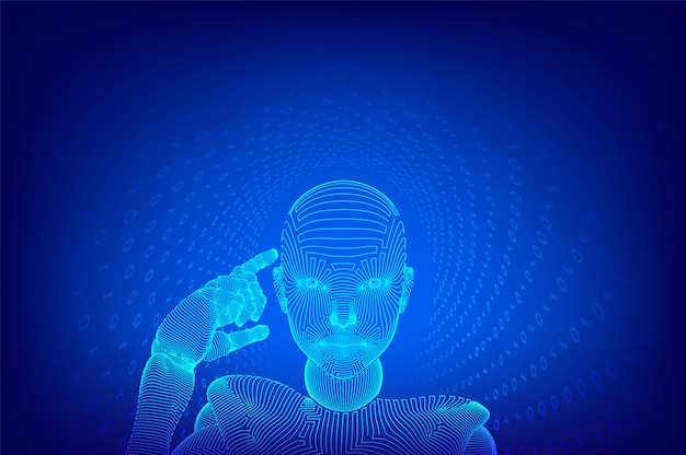 Abstract wireframe female cyborg holds a finger near the head and thinks or computes using her artificial intelligence.