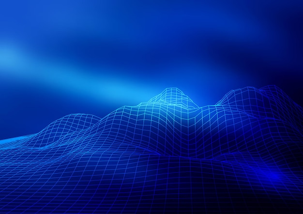 抽象的なワイヤーフレームの風景の背景デザイン