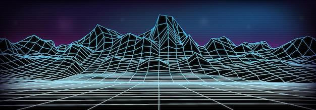抽象的なワイヤーフレームの風景の背景