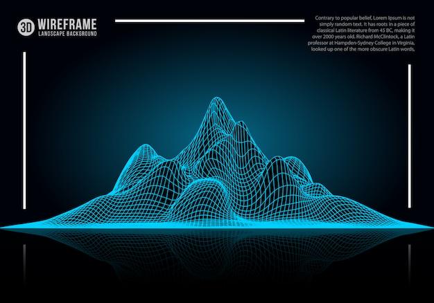 抽象的なワイヤフレーム風景の背景。
