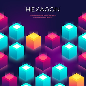 Abstract  with 3d shapes. hexagon colorful backdrop for flyers, cover, presentaion