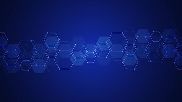Аннотация с геометрическими формами и шестиугольником. иллюстрация для медицины, техники или научного дизайна.
