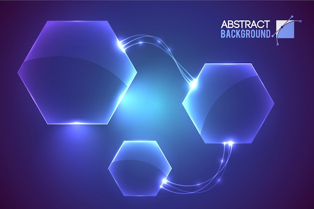 Abstract with modern virtual interface empty hexagon shaped elements conected