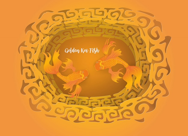 Abstract with top view golden koi fish on golden chinese