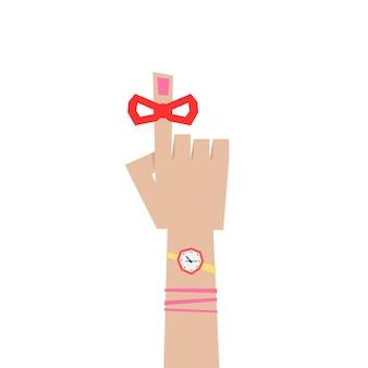 미리 알림 같은 추상 여자 집게입니다. 메모의 개념, 검지에 빨간 테이프, 마감일, 달력, 손바닥, 느낌표. 흰색 배경에 평면 스타일 트렌드 그래픽 로고 디자인 벡터 일러스트 레이 션