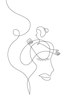 Abstract woman line art minimalist with surreal face