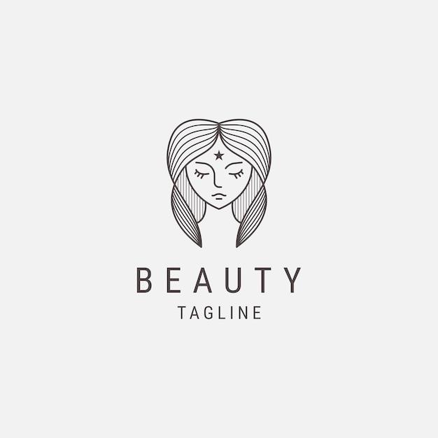 Шаблон логотипа абстрактная женщина линии
