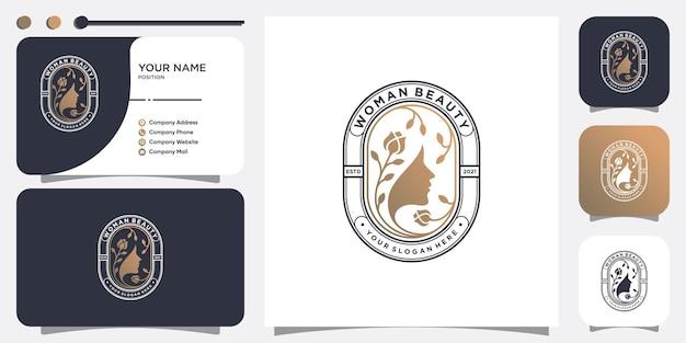 Абстрактный женский логотип с креативной и уникальной концепцией premium векторы