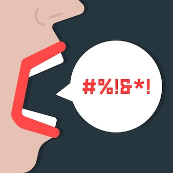 Abstract woman shouting obscenities. concept of vulgarity, fury, expression, speaker, criticism, fierce, rebuke, voice. isolated on dark background. flat style trend modern design vector illustration