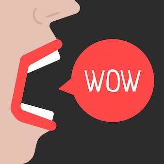 추상적인 여자는 와우를 말한다. 학대, 욕설, 충격, 소음, 분노, 미친, 고함, 논쟁, 놀람, 외설의 개념. 검은 배경에 고립 플랫 스타일 트렌드 현대적인 디자인 벡터 일러스트 레이 션