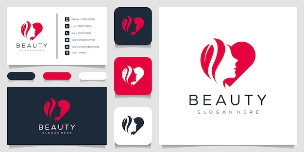 Abstract women and heart logo template business card